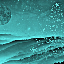 remixed christmas tree christmastree hills moon mountains stars colorseffect hueeffect hdreffect freetoedit