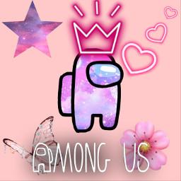 amongus pink pinkamongus butterfly pinkbutterfly flower pinkflower star heart hearts crown pinkcrown galaxy freetoedit