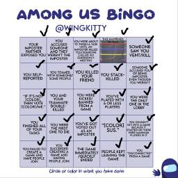 amongus edit bingo list freetoedit