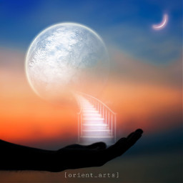 sunset planet moon stairs hand sky fantasy orient_arts madewithpicsart heypicsart makeawesome picsart freetoedit