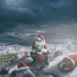 christmas santaclaus santa winter snow gift holiday december surreal surrealism art digitalart picsart madewithpicsart photomanipulation conceptart sky desert freetoedit