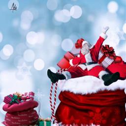 christmas christmasbackground beautifulbackground santaclaus gifts blue bluesky bluebackground freetoedit heypicsart papicks remixit