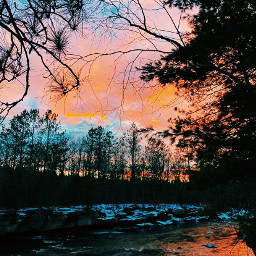 freetoedit pretty blue pink sky trees water colorful nature beauty snow love happy smile picsart awesome staysafe wearamask stopthespread holidays happyholidays break yay thankyou