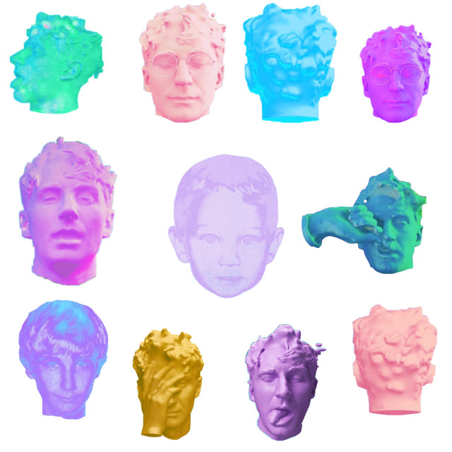 There's a lot. I can't find back of the purple head tho i would assume it exists somewhere 🤷♀️ #glassanimals #dreamland #albumartwork #heads #davebayley #childhood #adolesence #adulthood