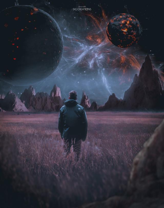 #freetoedit #picsart #madewithpicsart #galaxy #sky #man #alone #imagination #surreal