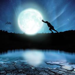 moon night sky bluesky silhouette man reflection stars myedit picsarteffect papicks makeawesome heypicsart background freetoedit landscape remixit