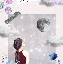 girl moon watercolor watercolorflower staystrong stars beautiful edit freetoedit youvegotthis clouds galaxy