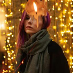 picsart madewithpicsart surreal girl candle xmas evening freetoedit