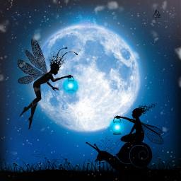 freetoedit fairies moon dky night