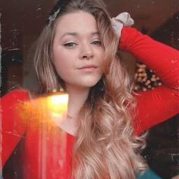 me selfie red christmas cute blonde winter septum night