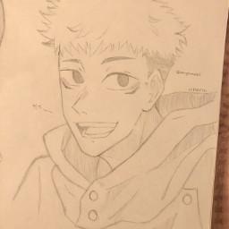 anime drawing doodle art traditionalart animeart sketch itadori itadoriyuji itadoriyuuji yujiitadori yuujiitadori jjk jujutsukaisen