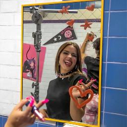 freetoedit addisonrae heart lipstick nails tiktok cute remixit makeup selfie mirror blue makeawesome heypicsart picsart happy