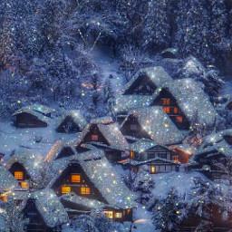 shine glitter aesthetic sparkle snow house winter light picsart