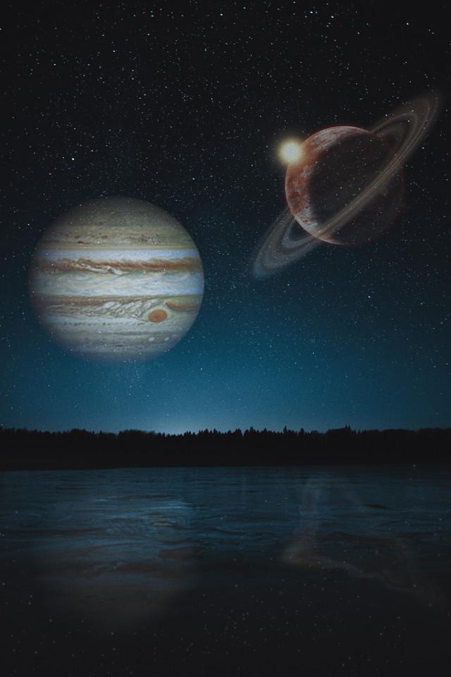 Jupiter & Saturn 🪐✨  -  - - - - - #jupiter #saturn #conjuncion #galaxy #sky #blue #stars #newedit #edit #myedit #picsart