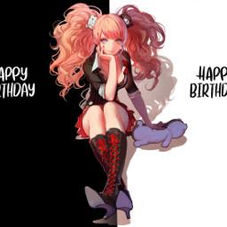 birthday happy bday hbd junko enoshima junkoenoshima danganronpa despair ultimatefashionista ultimatedespair monokuma anime girl 1 2 mastermind freetoedit