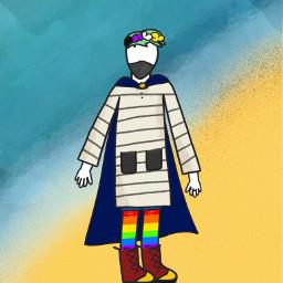 outfit cavetown dressinggown rainbowsocks combatboots greenhair pridering flowercrown cloak mask shorts beach