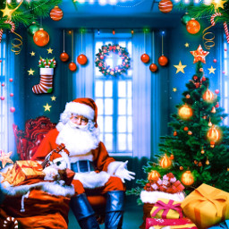 christmas collaboration merrychristmas christmas2020 christmascollab santa lights christmastree gifts window snow stars decor santaclaus red awesome picsart collab shutterstock unsplash freetoedit varunart stayawesome