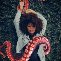 octopus grass tree green woman freetoedit
