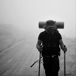 bw bnw blackandwhite bwphotography hiking treking fog foggy nature mountains freetoedit