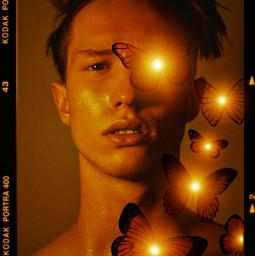 replay creative portrait boy butterflys lights dark kodak freetoedit