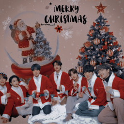 my merrychristmas aesthetic christmasaesthetic tae suga rm jk jin hope jimin bts christmastree santa gift