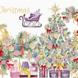 christmas presents ornaments christmastree santassleigh star bows tassels garland freetoedit