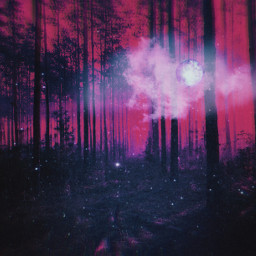 psychedelic beautiful colors heypicsart makeawesome vibes trippy forest pink moon clouds nightsky night freetoedit unsplash