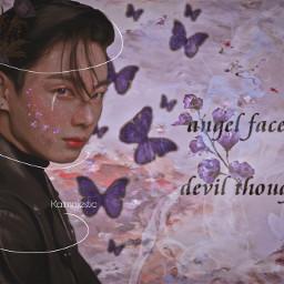 jungkook bts kpop jeonjungkook mystic bunny angel purple ethereal blush on blackswan kpopbts jungkookbtsedit