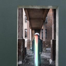 man standing light rainbow open astronaut colorful brickwall world photography destruction madewithpicsart icyx freetoedit remixit