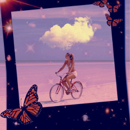 replay aesthetic trendy surreal frame sea girl butterflys freetoedit