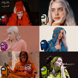 collage edit billieeilish billie eilish amongus videogame imposter crewmate sus amongusred amonguspink amongusorange amongusyellow amongusblue amongusgreen amongusedit nohateclub positivepa freetoedit