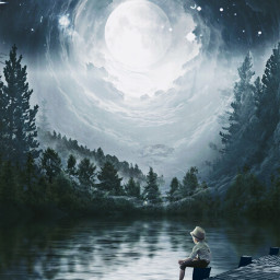 freetoedit art photography edit sea lake bridge night forest boy moon peace poetry