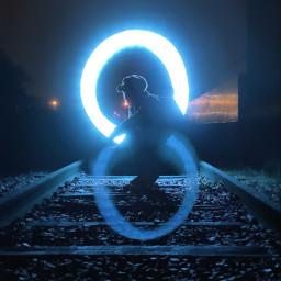 freetoedit darkphotography lighttrails photography shotoniphone trainstation lightning loops infinity
