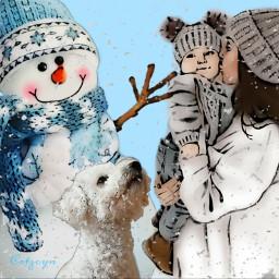 snow winter wintermoodboard snowflakes dog dogs kids family art artwork artistic freetoedit ircpuppydogeyes puppydogeyes