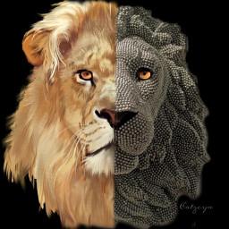 picsart picsartedit picsarteffects editedwithpicsart lion cats wildanimals beads freetoedit