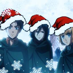 erenyeager mikasaackerman arminarlert surveycorps attackontitan snowflakes winter winterwonderland anime aot animeaesthetic freetoedit