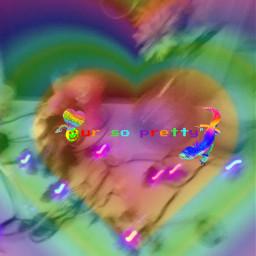 rainbow heart glitchore glitch chaoscore weirdcore weird chaos freetoedit