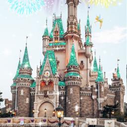 disney princess tinkerbell magic castle fireworks freetoedit
