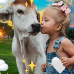 girl animal veal love freetoedit srcmonochromeemojis