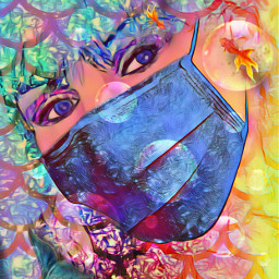 mask fish bubbles mermaidtail scales freetoedit