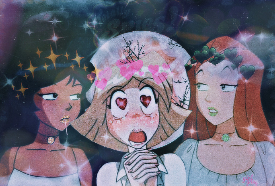 #totallyspies #girls #girlyaesthetic #yellow #red #green #friends #agents #night #moon #light #shopping #mission #ughh #notagain #crowns #beautiful #sam #clover #alex #oldcartoon #nostalgia #clouds #hearts #glitter