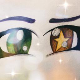 eyes drawing star heterochromia maleeyes purplehair greeneye orangeeye yellowstar shiny sparkles freetoedit