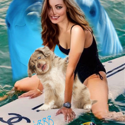dog woman dolphin sea fishes srchappymoment freetoedit