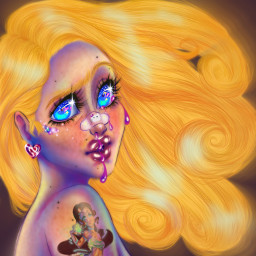art artist artstyle artstudent aesthetic magic magical tattoo tattoos blonde blue blueeyes sparkle sanrio hellokitty bleeding colored digitalart digitalpainting digital fairy fairytattoo redraw before&after freetoedit