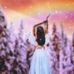 winter snow snowy magical dream trees artisticedit angel winterwonderland forest snowangel heypicsart makeawesome vibes