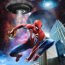 spiderman peterparker babyyoda themandalorian marvel lucasfilm disney fanart heroes superheroes city moon space galaxy ufo aliens alienized wallpaper uhd editedwithpicsart freetoedit
