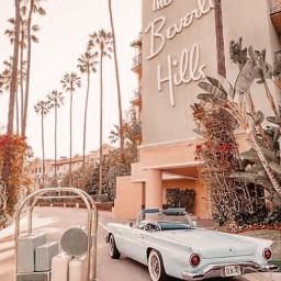 freetoedit vintage aesthetic peachy car beverlyhills palmtrees california