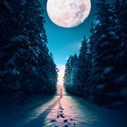 winter snow nigt moon unsplash moonlight footsteps picsart picsarteffects myedit myremix background followme freetoedit