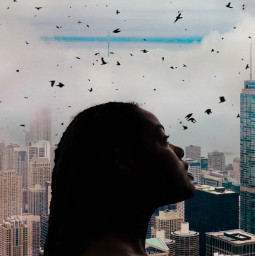 view window girlsilhouette picsart myedit myremix surreal freetoedit sky photomanipulation city fxeffects followme
