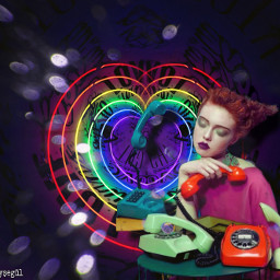 freetoedit myedit girl telephone heart matchmaker lights fxeffect picsart madewithpicsart